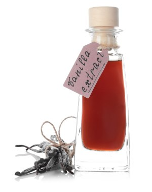 Brown Vanilla Extract in a Glass Bottle