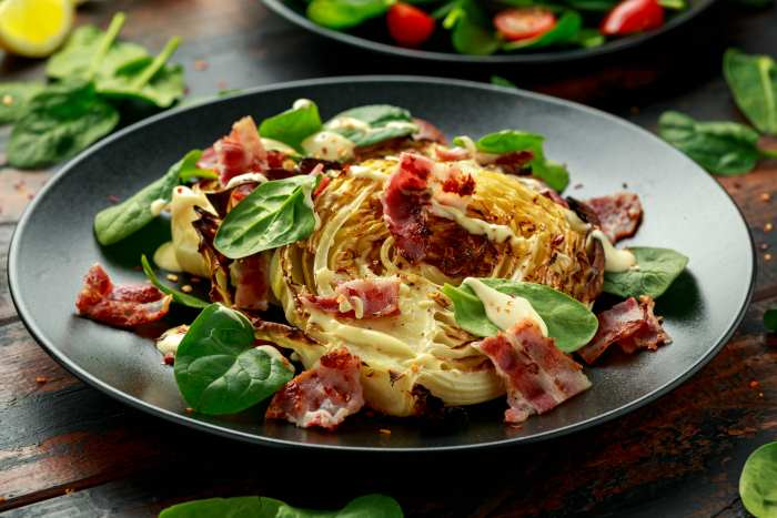 Cabbage Steaks With Bacon
