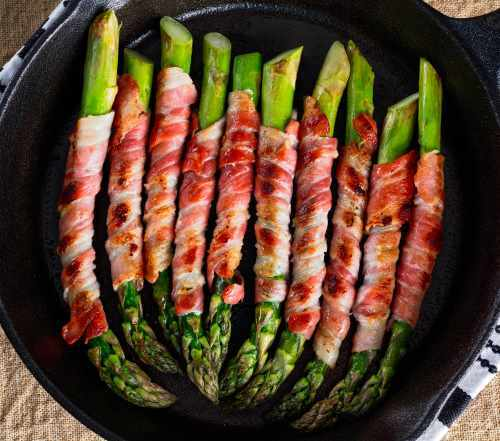 Cast Iron Pan Cooking Asparagus and Bacon