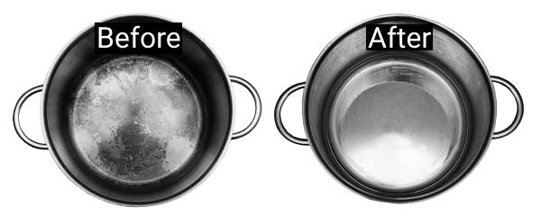 cleaning pans with vinegar