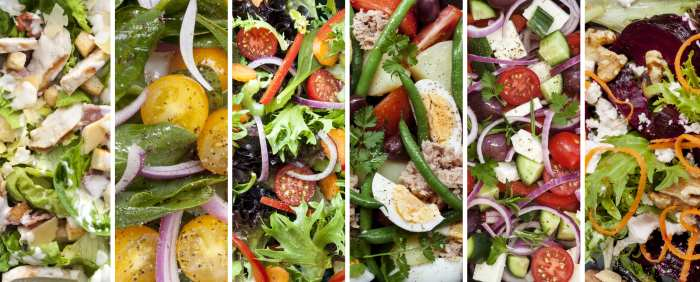 Collage of Garden Salads