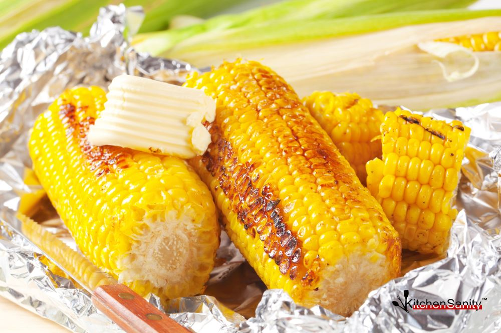 Corn Cob With Butter Wrapped In Foil