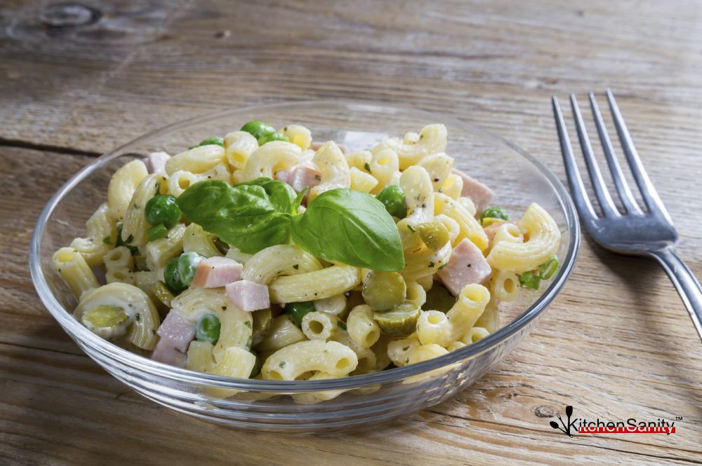 Cold Pasta Salad With Peas Pickles and Ham