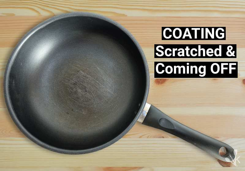 scratched Teflon pan with coating coming off