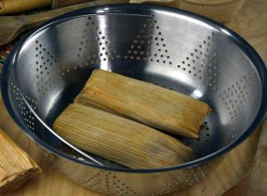 tamales in steamer basket